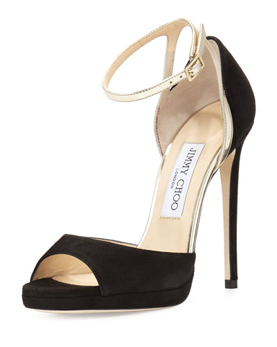 Pearl Suede 120mm Sandal, Black/Champagne