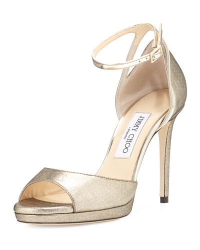 Pearl Leather 100mm Sandal, Gold/Champagne