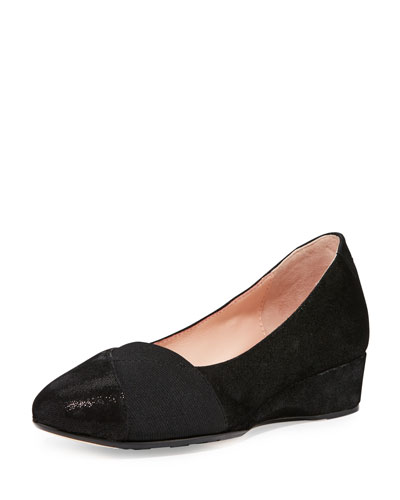 Fancee Metallic Demi-Wedge Pump, Black