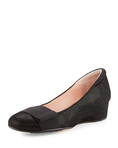 Mary Shimmery Demi-Wedge Pump, Black