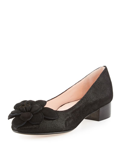 Farak Floral Low-Heel Pump, Black