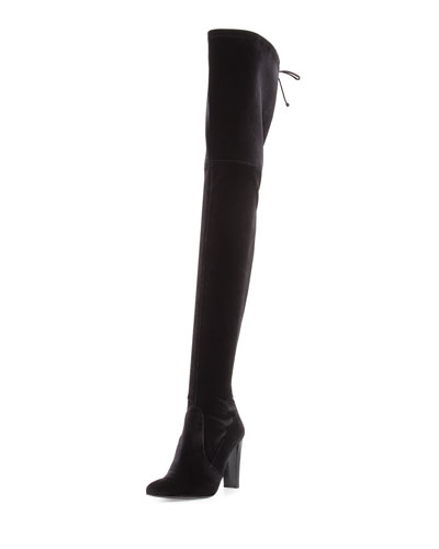 Alllegs Velvet Over-the-Knee Boot, Nero