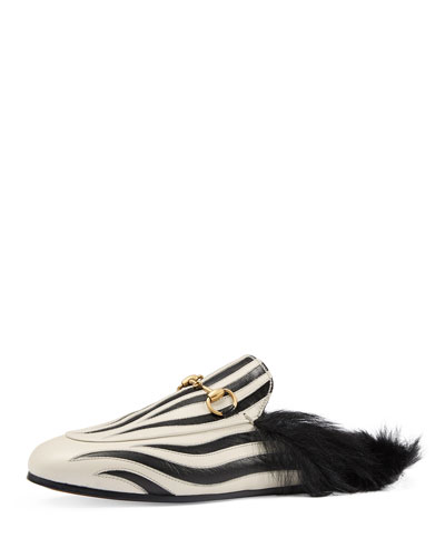 Princetown Zebra-Inlay Fur-Lined Mule, Black/White