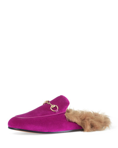 Princetown Velvet Fur-Lined Mule, Fuchsia