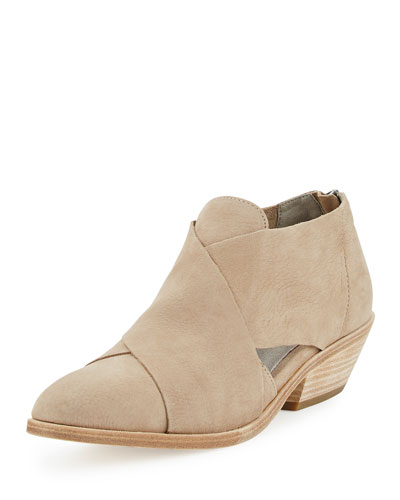 Cluster Leather Crisscross Bootie, Wheat