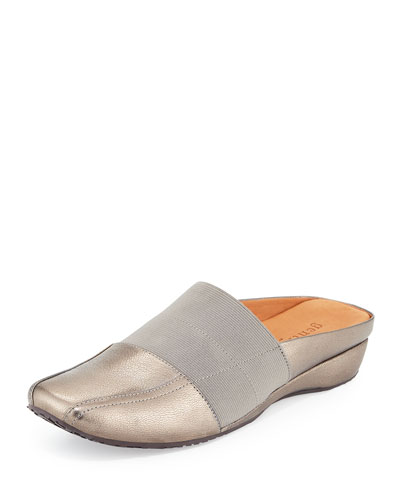 Iso Stretch-Panel Leather Mule, Graphite