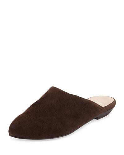 Blog Suede Pointed-Toe Mule, Chocolate