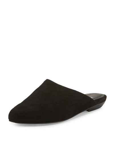 Blog Suede Pointed-Toe Mule, Black