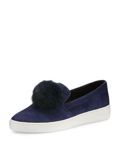 Eddy Mink Fur-Pompom Sneaker, Sapphire