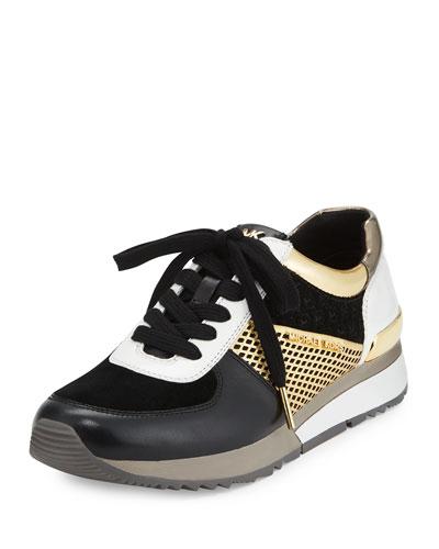 Allie Mixed-Media Trainer Sneaker, Black/Gold
