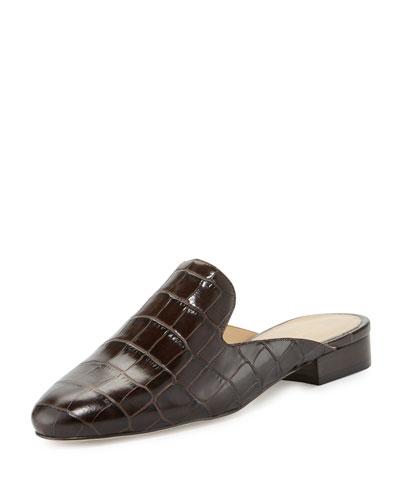 Natasha Crocodile-Embossed Slide Loafer, Dark Chocolate