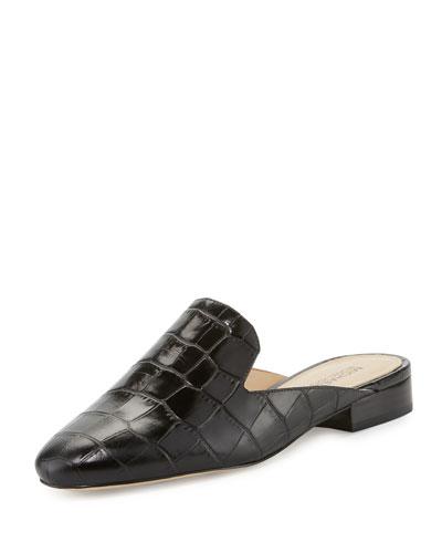 Natasha Crocodile-Embossed Slide Loafer, Black