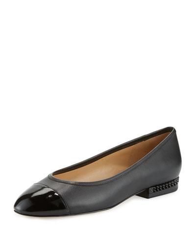 Sabrina Cap-Toe Ballerina Flat, Black