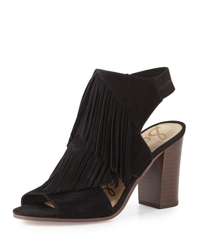 Elaine Fringe Chunky-Heel Sandal, Black