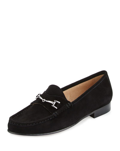 Talia Suede Horsebit Loafer, Black