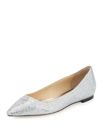 Romy Glitter-Fabric Ballerina Flat, Silver