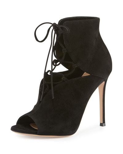 Julia Suede Cutout Lace-Up 105mm Bootie, Black