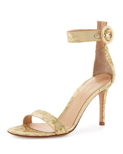 Portofino Lace Ankle-Strap 85mm Sandal, Gold