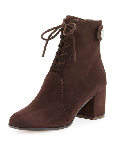 Finlay Mid Suede Lace-Up Bootie, Brown