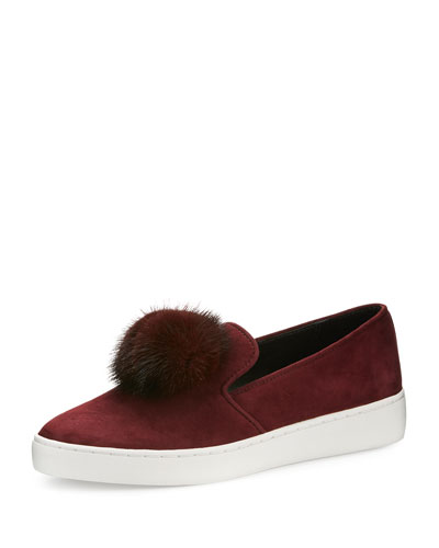 Eddy Mink Fur-Pompom Sneaker, Burgundy