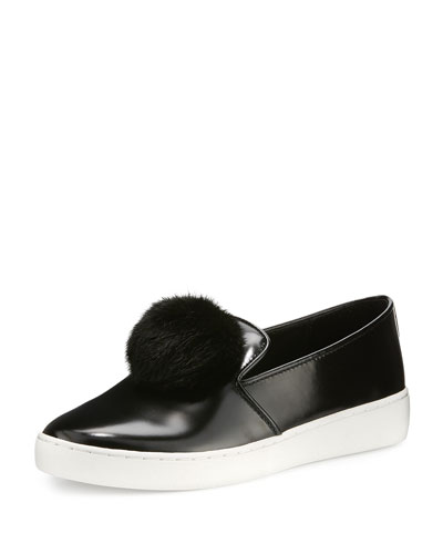 Eddy Mink Fur-Pompom Sneaker, Black