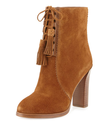 Odile Suede Lace-Up Bootie, Luggage