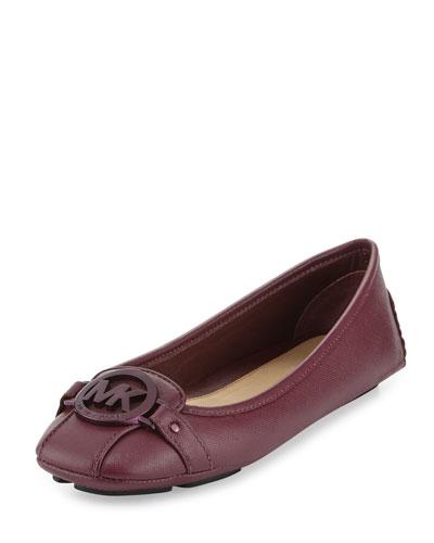 Fulton Saffiano Leather Moccasin, Plum