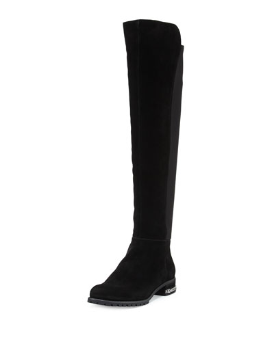 Sabrina Chain-Trim Suede Knee Boot, Black