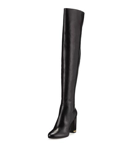 Sabrina Leather 100mm Knee Boot, Black