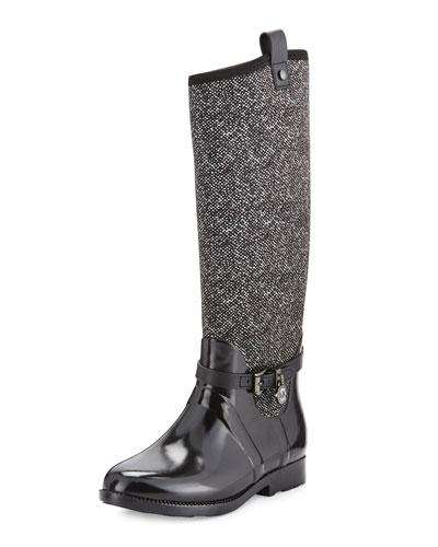 Charm Stretch Tall Rain Boot, Black/White