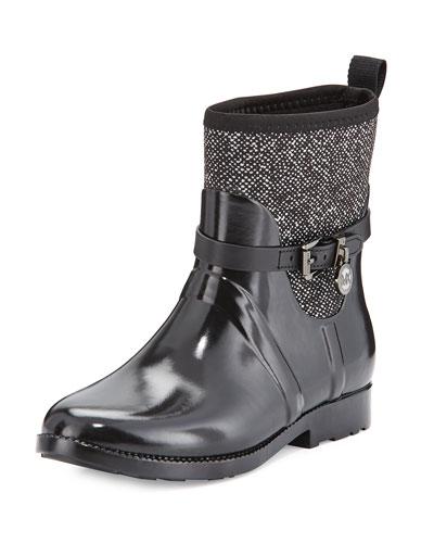 Charm Stretch Short Rain Boot, Black/White