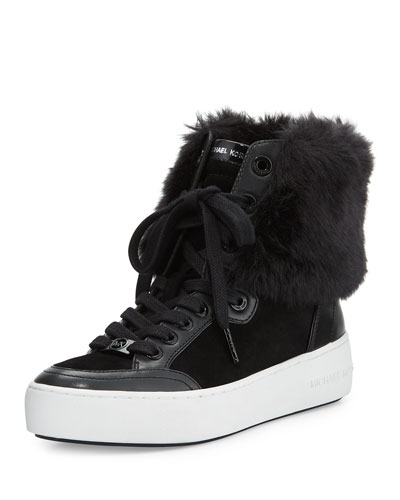 Poppy Faux-Fur High-Top Sneaker, Black