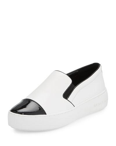Tia Cap-Toe Leather Slip-On Sneaker, Optic White/Black