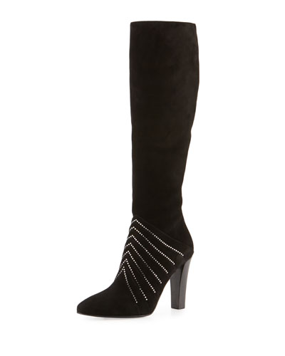 Strass Suede 95mm Knee Boot, Black