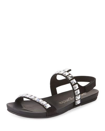 Joss Crystal Suede Flat Sandal, Black