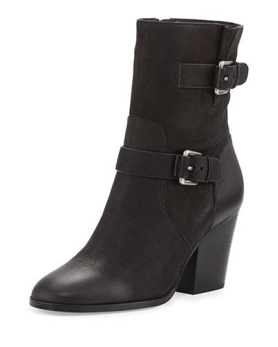 Ashton Mid Leather Bootie, Black