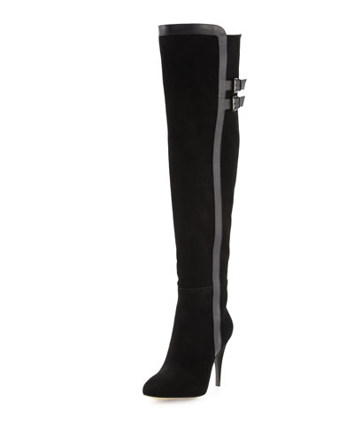 Delaney Suede Over-the-Knee Boot, Black