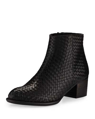 Kaycee Woven Leather Bootie, Black