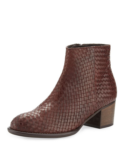 Kaycee Woven Leather Bootie, Cognac