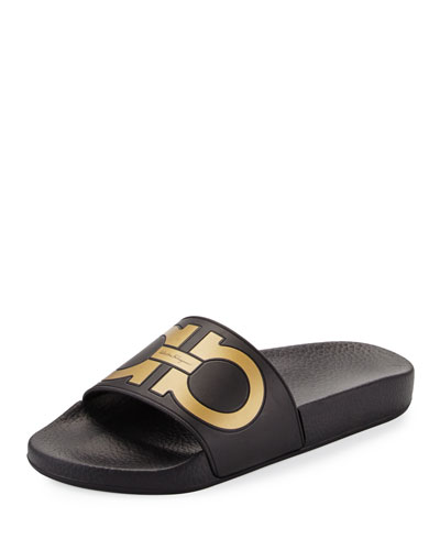 Gancini Flat Slide Sandal, Nero/Oro