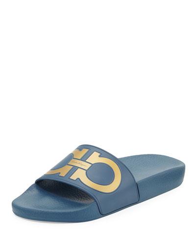 Gancini Flat Slide Sandal, Pacific/Oro