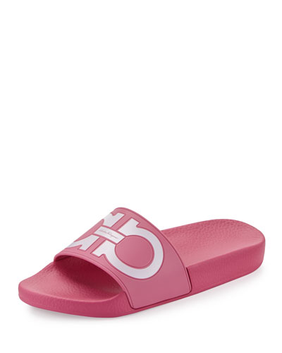 Gancini Flat Slide Sandal, Bubble/Bianco