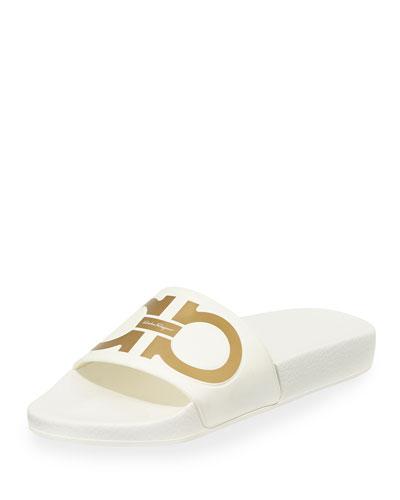 Groove Gancini Flat Slide Sandal, Bianco/Oro