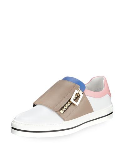 Colorblock Leather Side-Zip Sneaker, Multi
