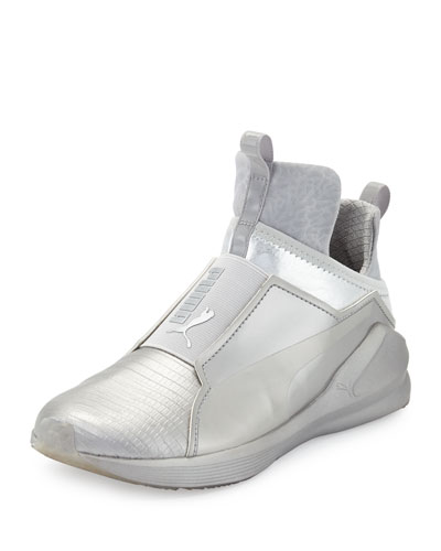 Fierce Lizard-Embossed High-Top Sneaker, Silver