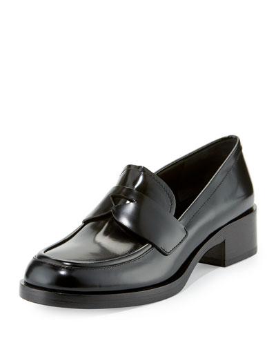 Brushed Leather Penny Loafer, Black (Nero)