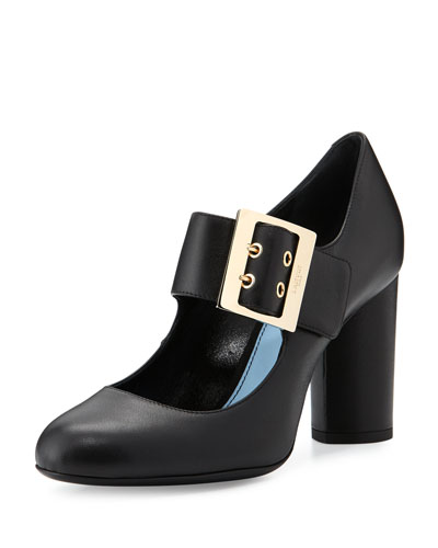 Leather 85mm Mary Jane Pump, Black