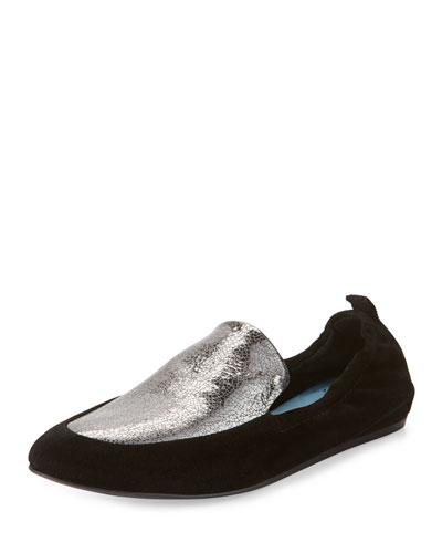 Two-Tone Leather Slipper Flat, Silver/Black