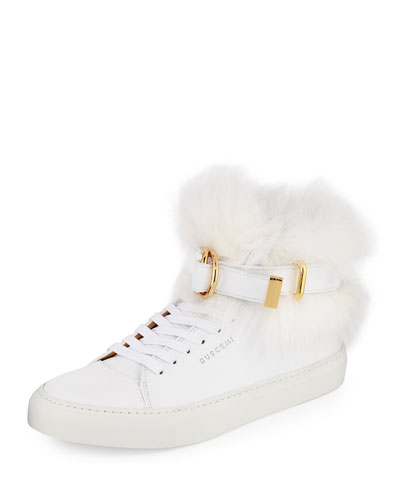 Women's 100mm Belted Fur High-Top Sneaker, White