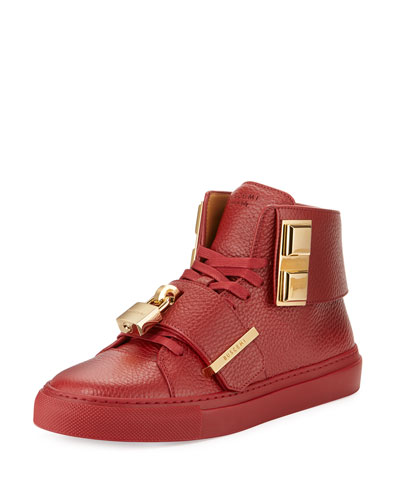 Women's 100mm Strap High-Top Sneaker, Scarlext Red